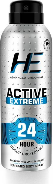 HE Active Extreme Perfumed Body Spray 150ml for Today's Active Men, 24 Hour Odor Protection* 99% Germ Free up to 24 hours Deodorant Spray  -  For Men
