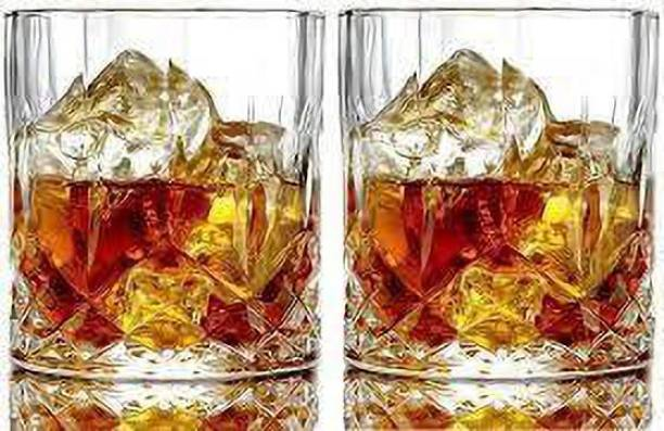 Coozico (Pack of 2) Crystal Clear Fancy Whiskey Scotch glass Glasses Set Glass Set Glass Set