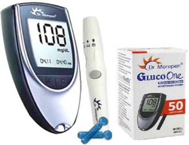 Dr. Morepen Blood Sugar Glucose checking machine(with 10 Free Swabs)(Glucometer+lancet+lancing device +50 Strips) Glucometer Glucometer