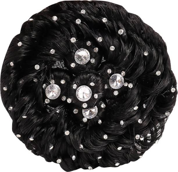 Xain Stone Design Juda Extension For Women Bun (Black) , 18 Bun