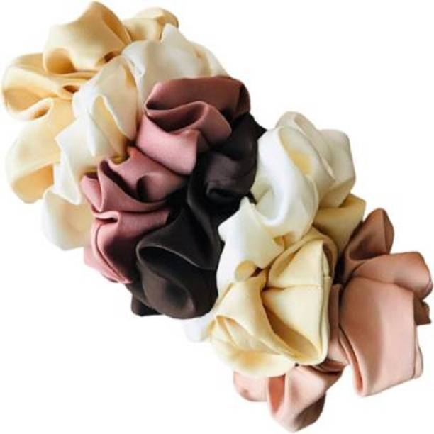 Foxit Soft Solid Silk Scrunchies Hair Ties Large Hair Bands Set of 7 pcs Rubber Band Hair Band