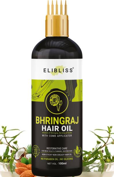 ELIBLISS Bhringraj Hair Oil WITH COMB APPLICATOR - for Hair Restoration - for All Hair Types - Non-Sticky & Non-Greasy Hair Oil - No Mineral Oil, Silicones, Synthetic Fragrance  Hair Oil