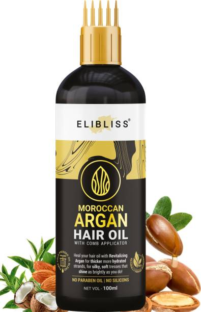 ELIBLISS Moroccan Argan Hair Oil WITH COMB APPLICATOR - for Anti-Hair Fall - for All Hair Types - Cold Pressed - No Mineral Oil & Silicones Hair Oil
