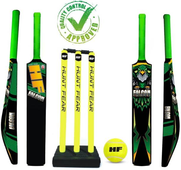 HF FALCON EDITION ( PLAYERS FIRST KIT ) HIGH QUALITY HARD PLASTIC KIT 1 BAT 2.5'' BAT AND 1 SET STUMP , 1 TENNIS BALL Cricket Kit