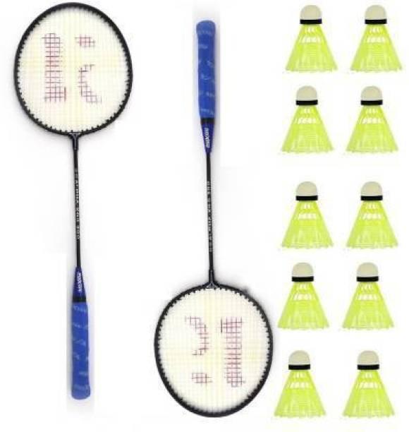 CLOVERBYTE Badminton kit Set Of 2 Piece Racquet with 10 Piece Plastic ShuttleCock Badminton Kit