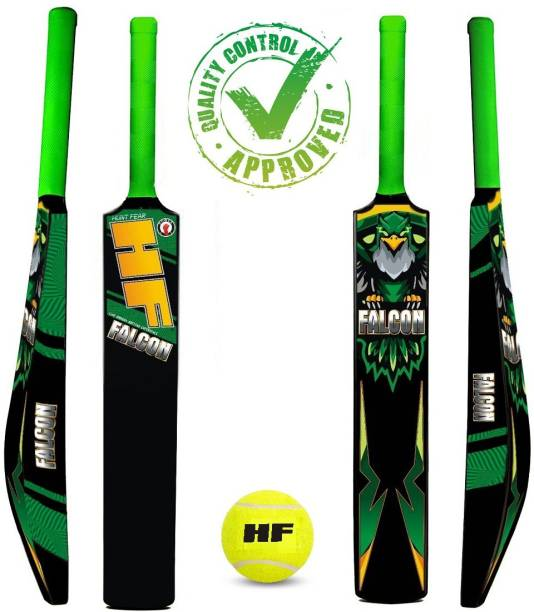 HF FALCON Edition Full Size ( Ideal for 15 + ) Hard PLastic For tennis Ball PVC/Plastic WITH 1 PC TENNIS BALL Cricket Kit