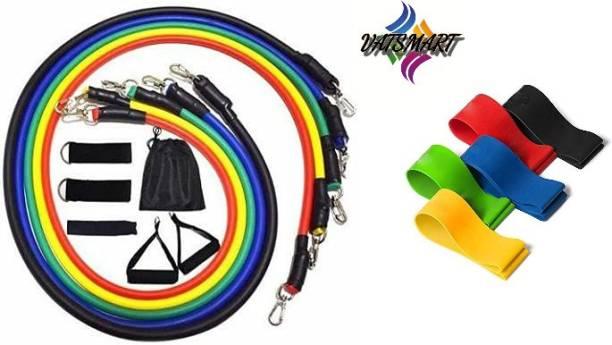 VATSMART Resistance Tube Set of 11 with Loop Bands Gym & Fitness Kit