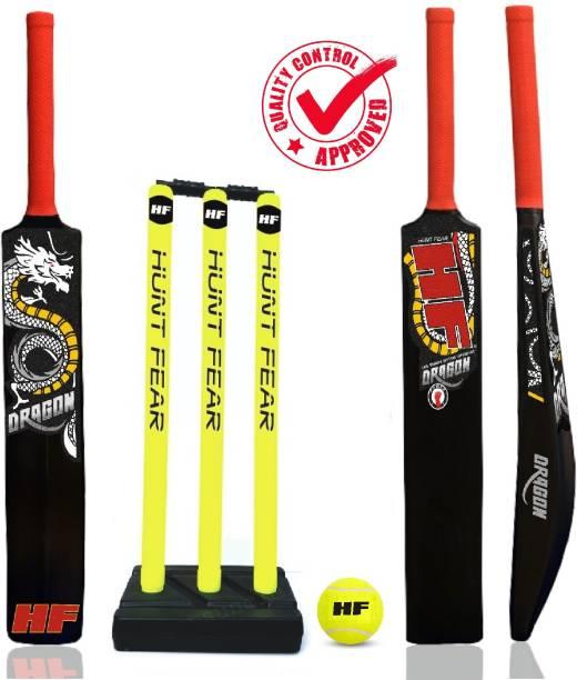 HF DRAGON ( PLAYERS FIRST KIT ) HIGH QUALITY HARD PLASTIC KIT 1 BAT 2.5'' BAT AND 1 SET STUMP , 3 TENNIS BALL Cricket Kit