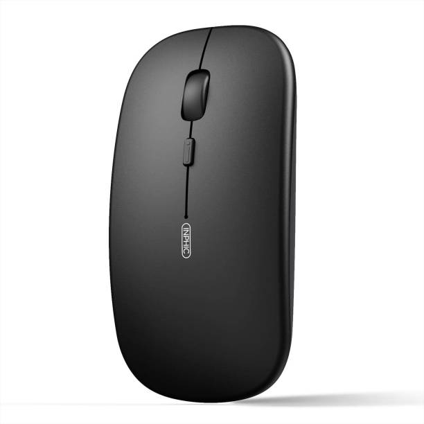 INPHIC Bluetooth Mouse, Slim Silent Rechargeable Bluetooth 5.0 Wireless Mouse, 800/1200/1600 DPI Portable Computer Cordless Mouse for Laptop PC Mac, iPadOS, Black Wireless Optical Mouse