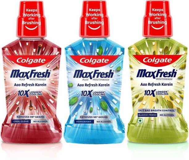 Colgate Maxfresh Plax Antibacterial Mouthwash, 24/7 Fresh Breath Cool Clove, Pepper Mint and Elaichi