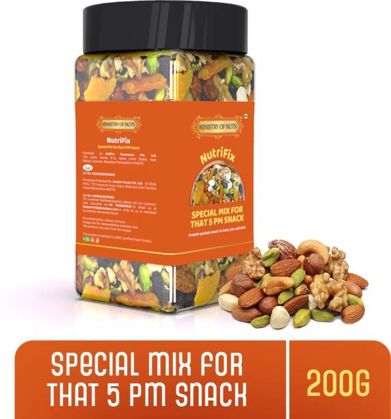 Ministry Of Nuts Nutrifix Special Mix For 5PM Snacks - Roasted Protein Packed Evening Snacks to Keep Satiated Nutrimix   No Added sugar & Trans Fat  Protein Rich, Cholesterol Free, Good Source of Healthy Fibre Trialmix   Varieties of Cashew, Walnuts, Almonds, Black Raisins, Apricot  (200 g)