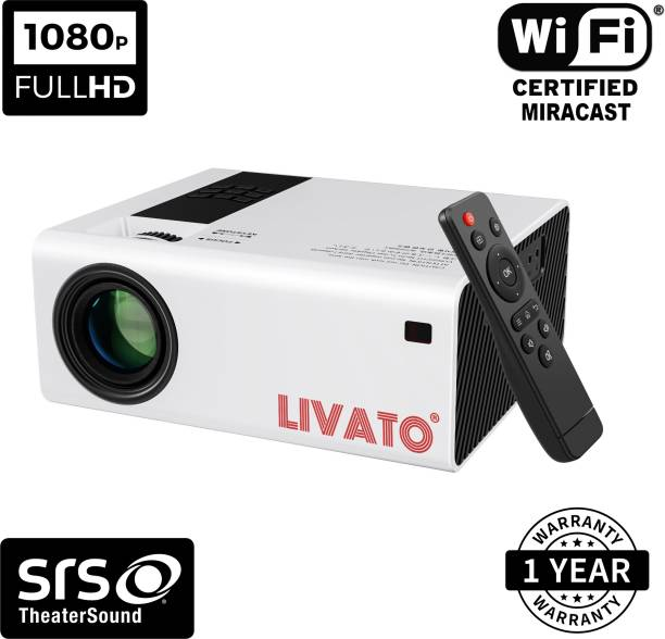 """Livato Y6 Full HD 1080p Modulated at 720p 8000 Lumens High Brightness 200"""" Large Display WIFI Miracast Screencast Portable Projector"""