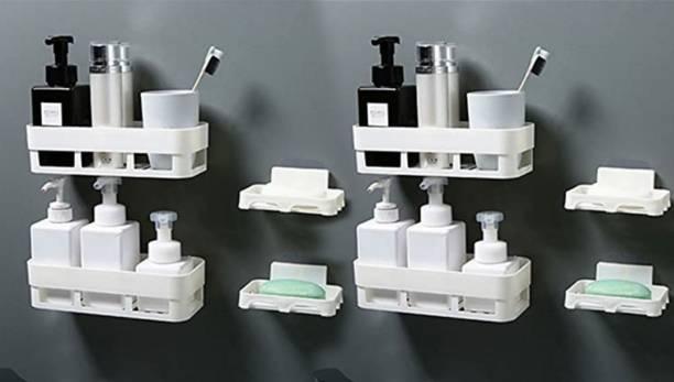 QXORE Multipurpose Kitchen Bathroom Rack Storage Shelves Bathroom Storage Rack Soap Box Stand Shower Rack ABS Plastic Storage Holder Combo with Magic Sticker Shelf ( 4 Bathroom Shelves + 4 soap Box)
