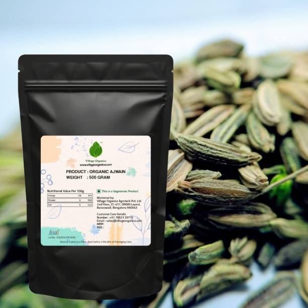 Village Organica Ajwain Fresh Whole Ajwain Seeds | Carom Seeds | Ajamo | (500 Gram, 1 Packet)