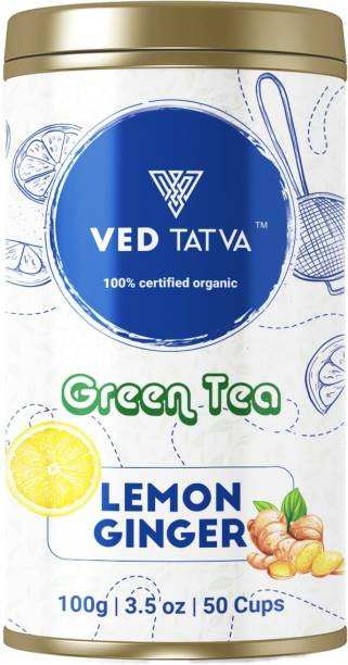 ved tatva Certified Organic Lemon Ginger Green Tea - for weight loss Loose Leaf with Natural Leaves Detox Green Tea Rich in Anti Oxidants 100GMS 50+Cups Lemon, Ginger Green Tea Tin