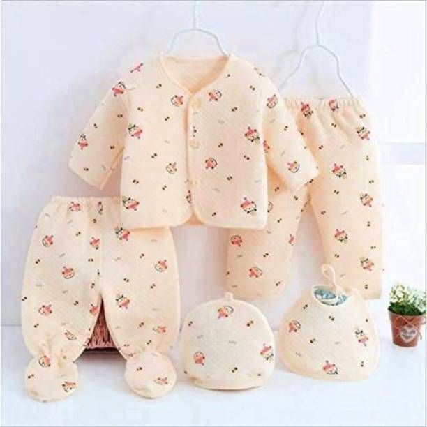 PIKIPOO Presents New Born Baby Winter Wear Keep warm Cartoon Printing Baby Clothes 5Pcs Sets Cotton Baby Boys Girls Unisex Baby Fleece / Falalen Suit Infant Clothes First Gift For New Baby (Peach 0-4 Months)