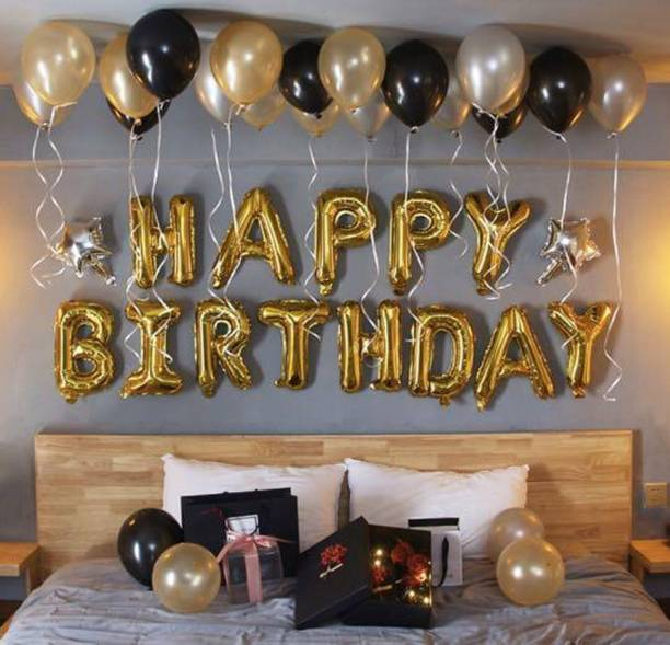 CherishX.com Solid Golden Birthday Balloons for Decoration – Pack of 36 Pcs – Happy Birthday Foil, Small Star Foil, Metallic & Latex Balloons- 1st, 10th, 18th, 21st, 25th, 30th, 40th, 50th Birthday Balloon