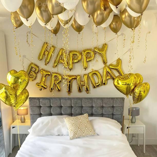 CherishX.com Solid Golden Birthday Decoration Item – Pack of 38 Pcs - Happy Birthday Foil, Star Shape Foil, Chrome & Latex balloons - birthaday decoration kit Balloon