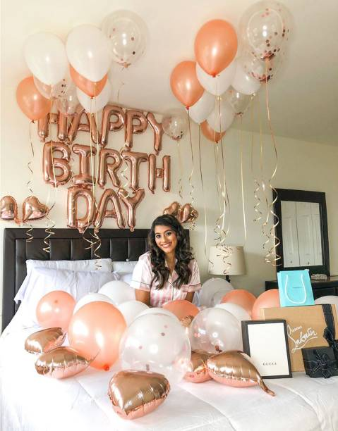 CherishX.com Solid Rosegold Birthday Decoration Party Supplies Kit – Pack of 55 – Happy Birthday Foil, Heart Shape Foil, Confetti, Metallic & Latex Balloons - for Husband, Wife, Boy, Girl Balloon