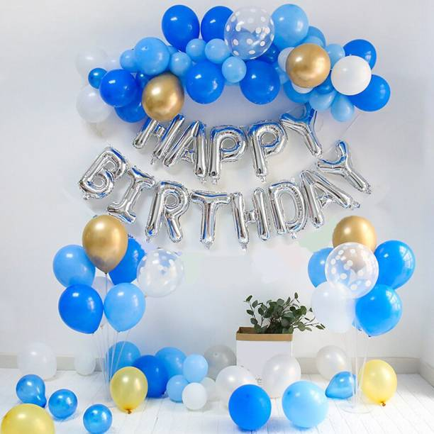 CherishX.com Solid Blue Birthday Balloons for Decoration – Pack of 67 Pcs – Happy Birthday Foil, Chrome, Confetti, Pastel & Metallic Balloons - 1st, 10th, 18th, 21st, 25th, 30th, 40th, 50th Birthday Balloon