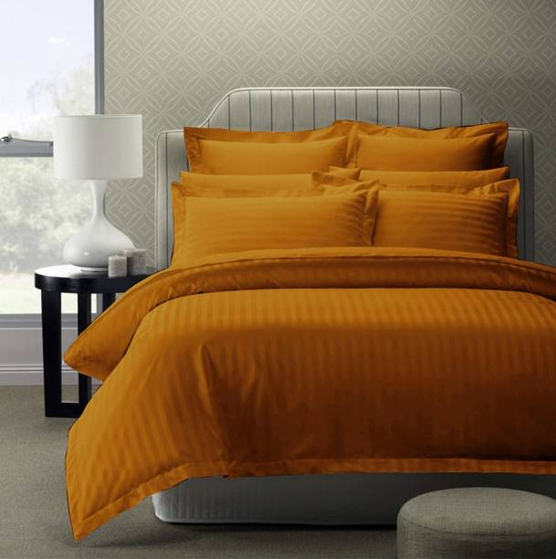 Story@home 300 TC Cotton King Striped Bedsheet