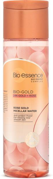 Bio-Essence Bio-Gold Rose Gold Micellar Water   With 24K Gold, Bio-Energy Complex & Japanese Rose, Removes Waterproof Make-up & Nourishes, Anti-Aging, Anti-Oxidant