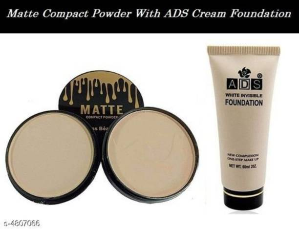 beautyfly ADS White Invisible Foundation (White, 60 ml) With Kiss Beauty Matte 2 in 1 Compact Powder Compact