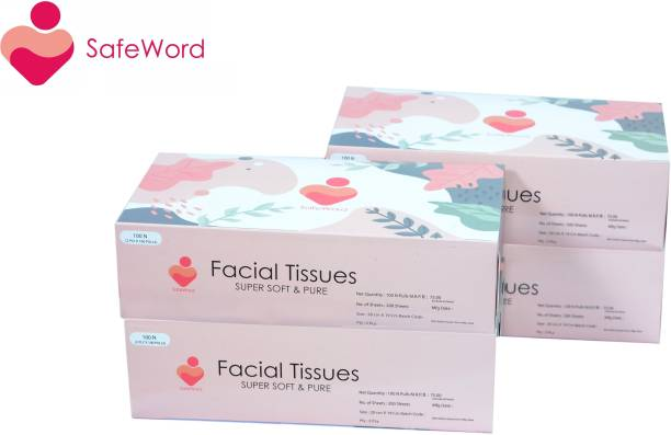 SafeWord Premium Facial Dry Tissue Paper, Super Soft, Super Absorbent, Skin Friendly, Facial Tissue & 100% Pure (Use In Home, Office, Car, Hospital, Travelling)