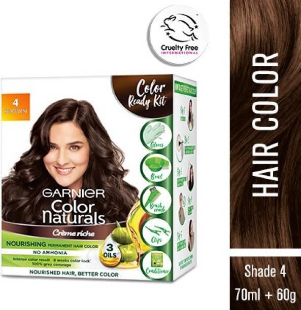 GARNIER Color Naturals Crme Hair Color, Shade 4 Brown, 70ml + 60g + Coloring Tools , Brown