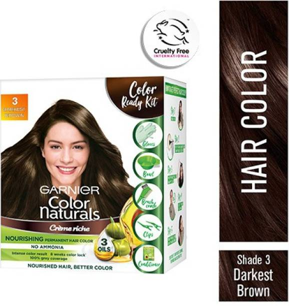 GARNIER Color Naturals Crme Hair Color, Shade 3 Darkest Brown, 70ml + 60g + Coloring Tools , Dark Brown