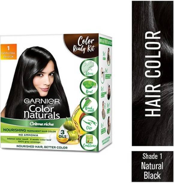 GARNIER Color Naturals Crme Hair Color, Shade 1 Natural Black, 70ml + 60g + Coloring Tools , Natural Black
