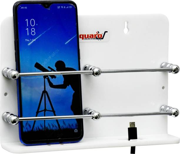 SQUARO ONLINE STORE High Grade Acrylic Double Mobile Stand Dual Phone Charging Holder TV AC Remote Stand for Home ( White, Pack Of 1 ) Mobile Holder