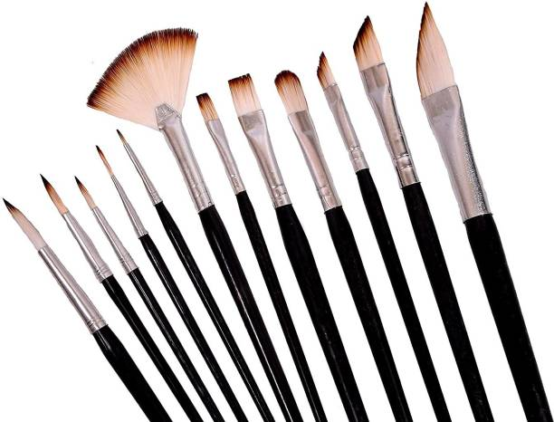 Beauty Hub Decor Set of 12 Professional Round Pointed Tip Nylon Hair Artist Acrylic Paint Brush for Acrylic/Watercolor/Oil Painting
