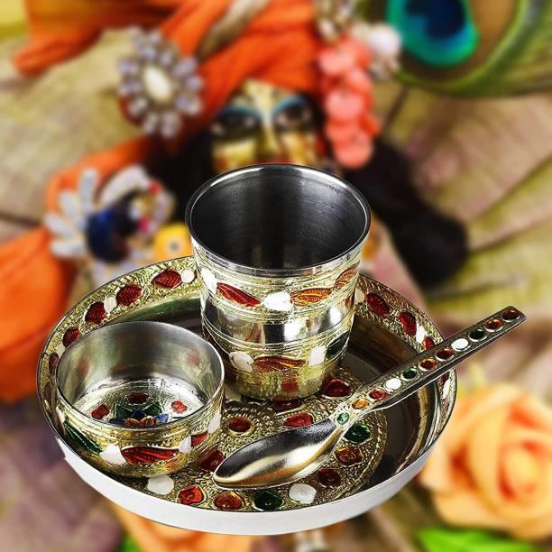 Rolimoli Laddu Gopal ji ke Bartan/Pooja thali Small 4 pcs set Multicolor Bhog Thali with Glass, Bowl and Spoon Stainless Steel