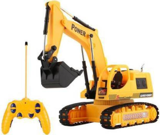 Radha Kripa Rechargeable 5 Channel Remote Controlled Battery Operated JCB Excavator Truck Toy for Kids with LED Lights