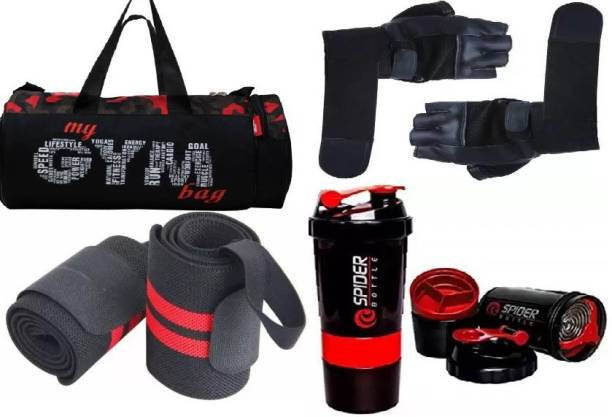 EMMCRAZ my red gym bag with spider bottle with wrist support & gym gloves Home Gym Kit