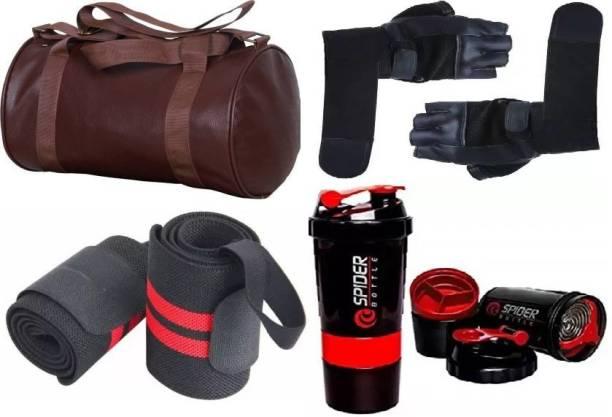 EMMCRAZ brown gym bag with spider bottle with wrist support & gym gloves Home Gym Kit