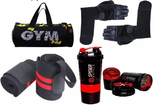 EMMCRAZ my green gym bag with spider bottle with wrist support & gym gloves Home Gym Kit