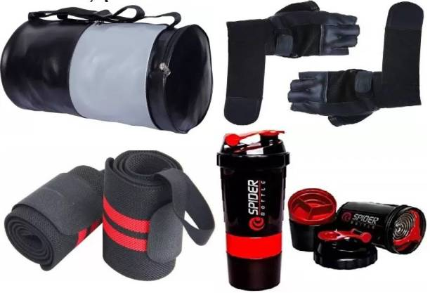 EMMCRAZ (blac&grey) gym bag with spider bottle with wrist band & gym gloves Home Gym Kit