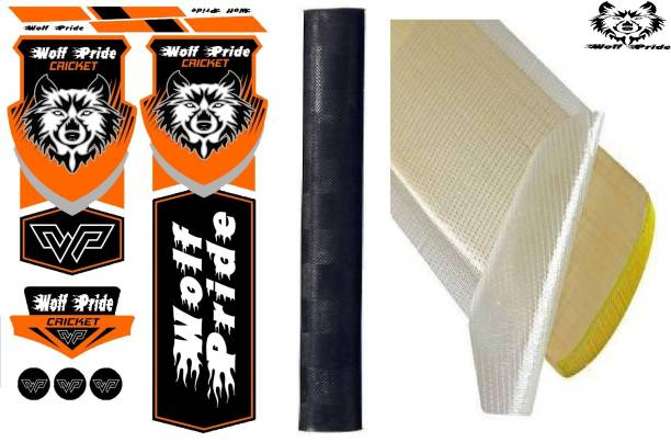 WOLF PRIDE Combo Cricket Bat Orange Sticker, Black Grip, Anti Scuff Bat Sticker