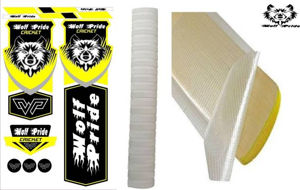 WOLF PRIDE Combo Cricket Bat Yelow Sticker, White Grip, Anti Scuff Bat Sticker