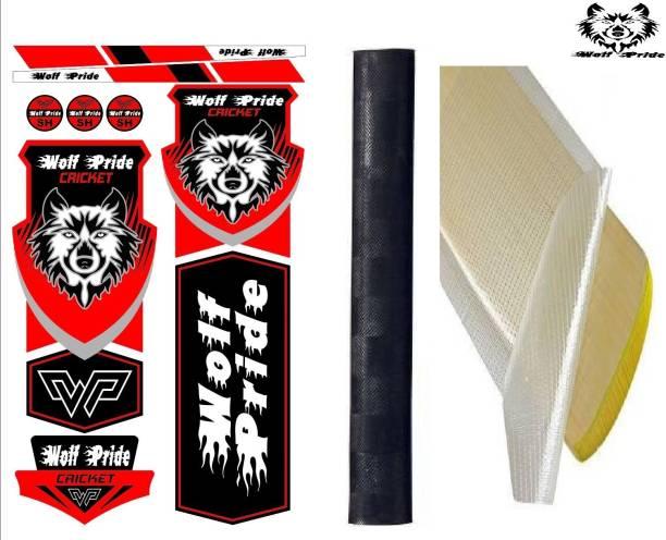 WOLF PRIDE Combo Cricket Bat Red Sticker, Black Grip, Anti Scuff Bat Sticker