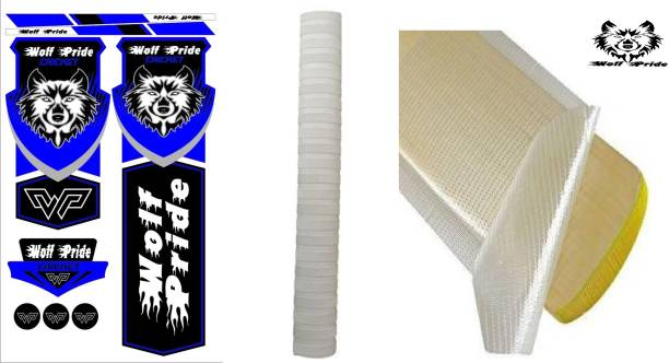 WOLF PRIDE Combo Cricket Bat Green Sticker, White Grip, Anti Scuff Bat Sticker