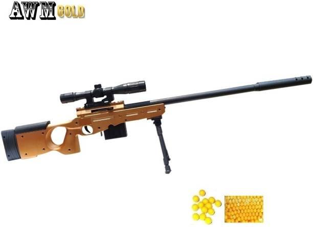 HALO NATION AWM GOLD BB Bullet Gun Toy for Boys, Bullet Gun Toy - 87cm / 34in PUBG AWM Plastic Toy Gun with Stand , Laser Target - 6 SHOT MAGAZINE AWM GUN TOY + 100 BB Balls - Limited Edition Guns & Darts