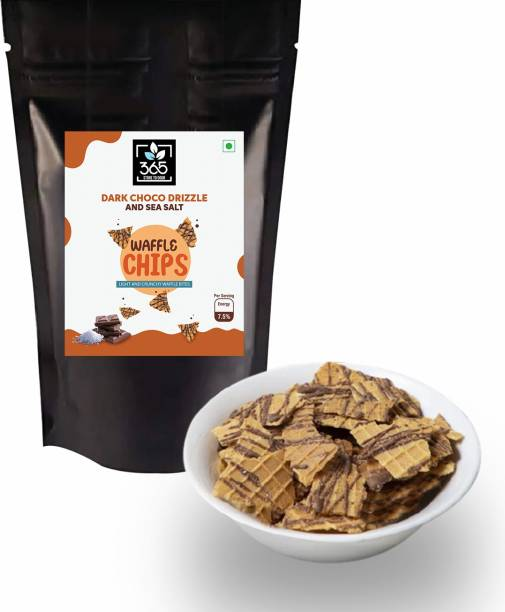 365 STORE TO DOOR Dark Choco drizzle and sea salt Waffle Chips, 200 gm   Choco Chips   Light and Crunchy Waffle Bites Waffles