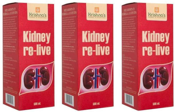 Krishna's Herbal & Ayurveda Kidney Relive Juice | Helps Maintaining Kidney Health | Soothes Urinary Pain | Cleanses Urinary Path | Pack of 3 | 500ml Each
