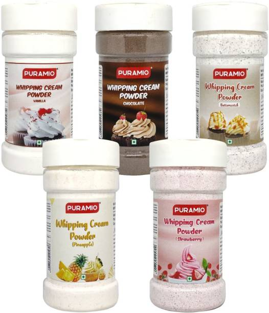 PURAMIO Whipping Cream Powder, 125g Each (Pack of 5)- Vanilla, Chocolate, Pineapple, Strawberry and Butterscotch, Icing