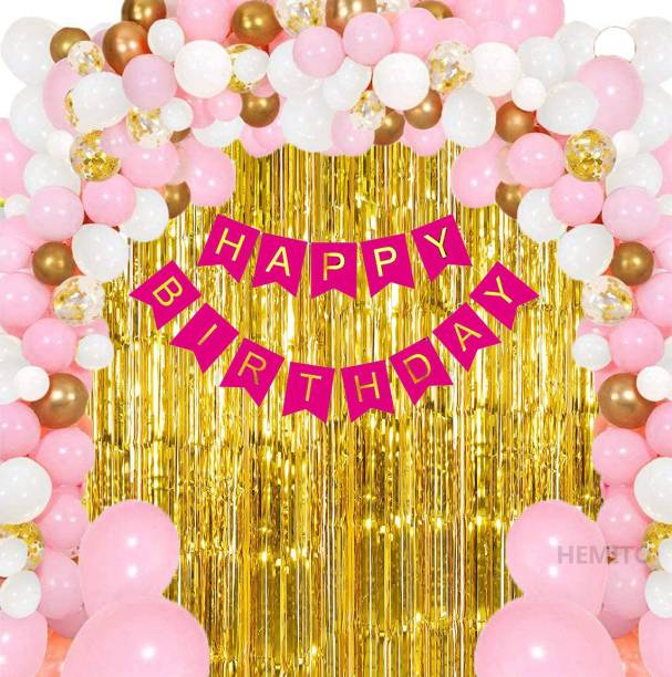 Hemito Solid Birthday Decoration Kit for Girls - 33Pcs Pink, White Golden Metallic Birthday balloons for Girls Decoration, Golden Foil Curtain, Pink Happy Birthday Banner/Birthday Decoration Combo Set Balloon