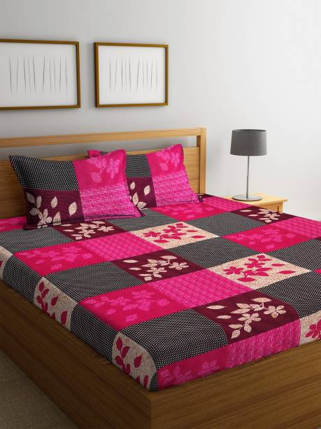 Fashion String 144 TC Microfiber Double Floral Bedsheet