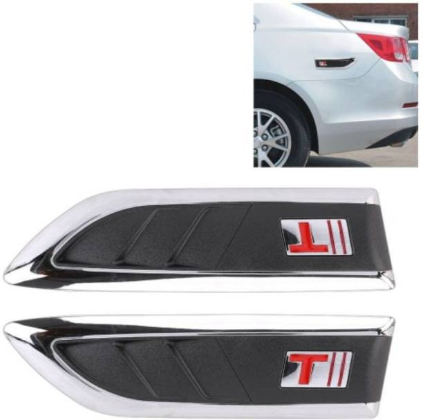 SRPHERE Car Decorative Air Flow Duct (V-618) Racing Side Vent Air Flow Chrome Plated Sticker for Skoda Rapid Side Scoop
